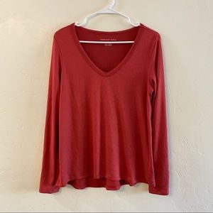 American Eagle Red V Neck Knit Long Sleeve Top M